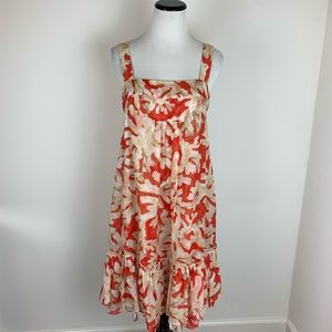 Diane Von Furstenberg Floral Silk Ruffle Dress Red